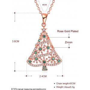Rhinestones Insert Christmas Tree Drop Necklace - GOLDEN
