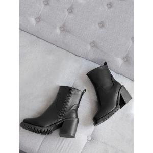 Block Heel PU Leather Ankle Boots - BLACK 34