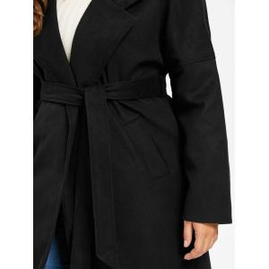 Plus Size Wool Blend Drop Shoulder Wrap Coat -