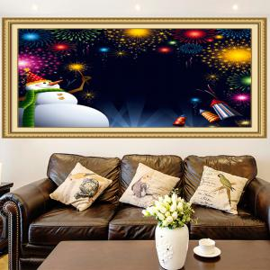 Christmas Snowman Fireworks Patterned Wall Art Painting - COLORFUL 1PC:24*24 INCH( NO FRAME )