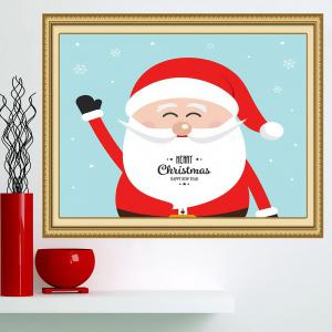 Happy Santa Claus Patterned Multifunction Wall Art Painting - RED+BLUE 1PC:24*24 INCH( NO FRAME )