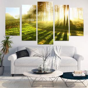 Sunlight Forest Path Way Printed Decorative Canvas Paintings -