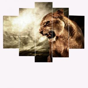 Angry Lion Print Unframed Painting - DEEP BROWN 1PC:8*20,2PCS:8*12,2PCS:8*16 INCH( NO FRAME )