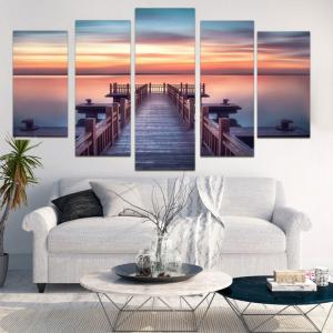 Sunset Wood Bridge Wall Art Paintings - COLORFUL 1PC:8*20,2PCS:8*12,2PCS:8*16 INCH( NO FRAME )