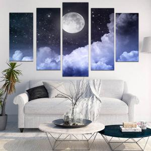 Wall Art Canvas Moon Starry Sky Painting -