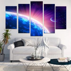 Shiny Earth Print Unframed Wall Art Paintings - COLORFUL 1PC:8*20,2PCS:8*12,2PCS:8*16 INCH( NO FRAME )
