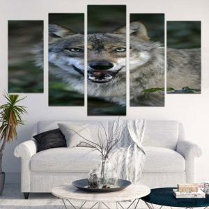 Wolf Print Unframed Canvas Split Paintings -