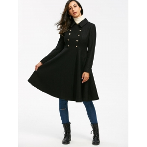 Double Breasted High Waist Dress Coat - BLACK M