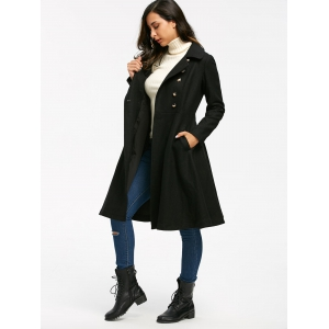 Double Breasted High Waist Dress Coat - BLACK L