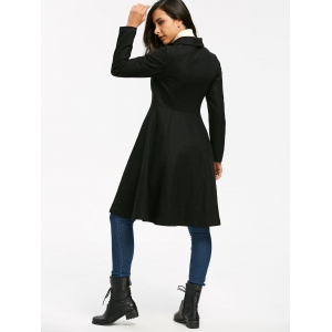 Double Breasted High Waist Dress Coat - BLACK S