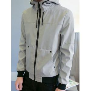 Zipper Up Drawstring Hooded Track Jacket - GRAY M