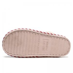 Pinstripe Faux Fur Padded House Slippers - RED STRIPE SIZE(36-37)