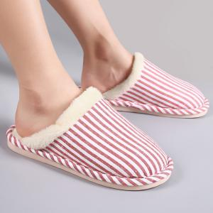 Pinstripe Faux Fur Padded House Slippers - RED STRIPE SIZE(38-39)