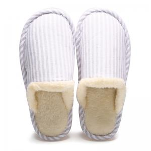 Pinstripe Faux Fur Padded House Slippers - OFF-WHITE SIZE(36-37)