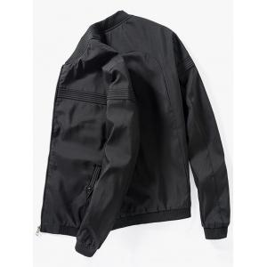 Zip Up Stand Collar Casual Bomber Jacket - BLACK XL