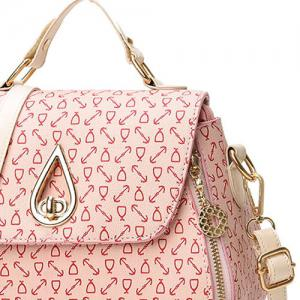 PU Leather Arrow Print Handbag - PINK