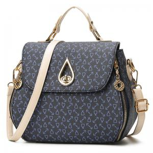 PU Leather Arrow Print Handbag -