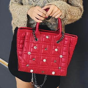 Chain Quilted Rivets Handbag - RED