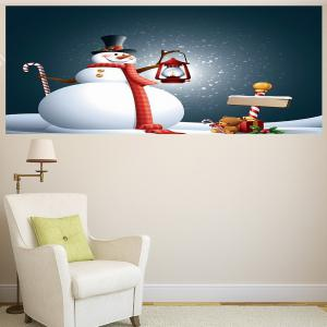 Christmas Snowman Light Pattern Multifunction Decorative Wall Sticker - GREY AND WHITE 1PC:24*35 INCH( NO FRAME )