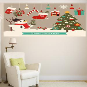 Multifunction Cartoon Christmas Snowman Pattern Wall Sticker -