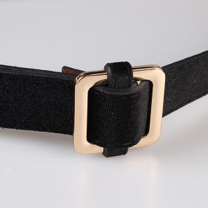 Metal Square Buckle Decorated Skinny Belt -