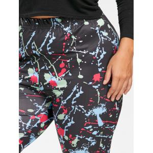 Plus Size Ink Painting Color Block Leggings -