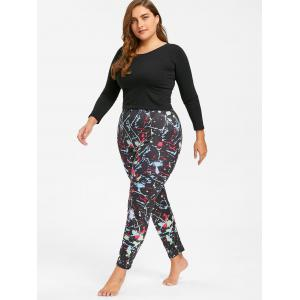 Plus Size Ink Painting Color Block Leggings - COLORFUL 2XL