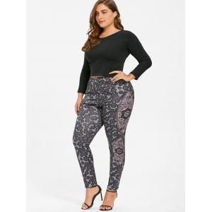 Bohemian Plus Size Print Leggings - BLACK 2XL