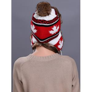 Outdoor Maple leaves Pattern Earmuff Trapper Hat -