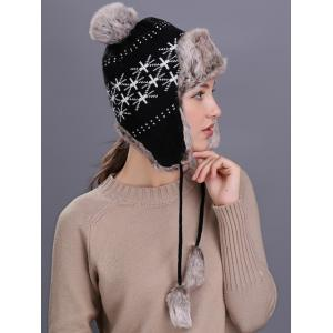 Flag Pattern Thicken Knit Trapper Hat -