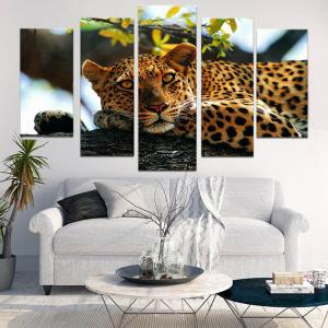 Unframed Tree and Leopard Pattern Canvas Paintings -