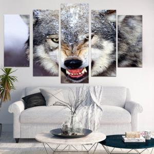 Unframed 3D Wolf Printed Canvas Paintings -