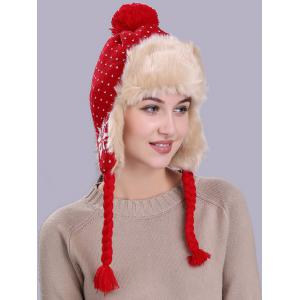 Vintage Christmas Snowflake Pattern Thicken Trapper Hat -