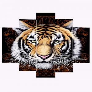 Cool Tiger Print Frameless Split Canvas Paintings -