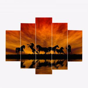 Unframed Sunset Horses Pattern Canvas Paintings -