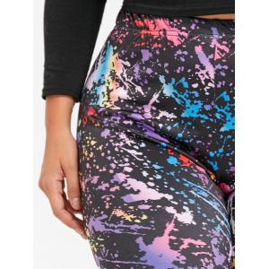 Print Plus Size Color Block Leggings -