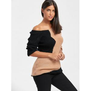 Loose Fit V Neck Color Block Sweater - COLORMIX ONE SIZE