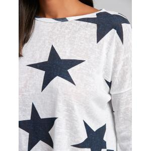 Star Graphic Sheer Knit Sweater - WHITE M