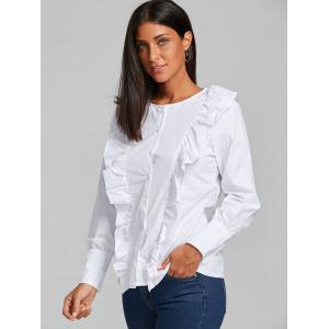 Casual Ruffle Button Up Blouse - WHITE S
