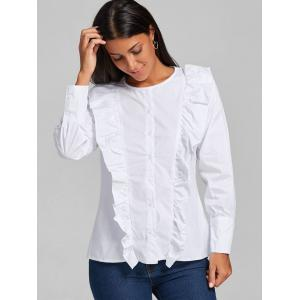 Casual Ruffle Button Up Blouse - WHITE L