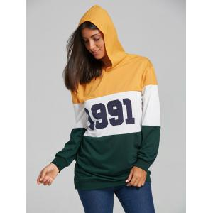 1991 Print Color Block Striped Hoodie - COLORMIX M