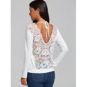 Lace Hollow Out Back V Blouse - WHITE L