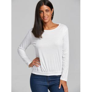 Lace Hollow Out Back V Blouse - WHITE S