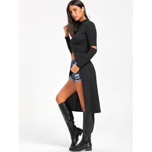 Halloween Ripped Elbow Longline Dip Hem Top - BLACK M