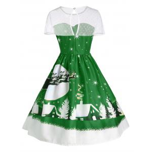 Santa Claus Deer Vintage Christmas Dress - GREEN L