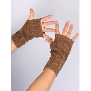 Outdoor Hollow Out Embellished Knitted Exposed Finger Gloves -