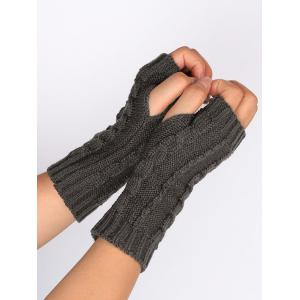 Outdoor Hollow Out Embellished Knitted Exposed Finger Gloves - DEEP GRAY