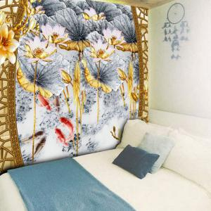 Lotus Print Decorative Wall Hanging Tapestry - COLORMIX W79 INCH * L59 INCH