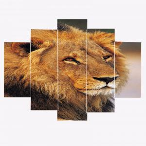 Lion Head Print Unframed Canvas Split Paintings - BROWN 1PC:8*20,2PCS:8*12,2PCS:8*16 INCH( NO FRAME )