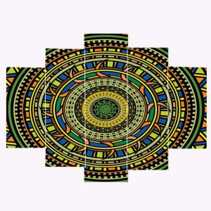 Bohemian Mandala Print Unframed Canvas Paintings - COLORFUL 1PC:8*20,2PCS:8*12,2PCS:8*16 INCH( NO FRAME )